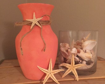 Coral wedding centerpiece Lighted beach vase Coral wedding decor Beach centerpiece Coastal decor Coral bridal shower decorations