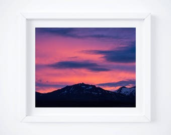 Stages of an Iceland Summer Sunset 2 -  Colorful sky print - Photo print - Dreamy clouds art - Nature wall decor - Pink purple wall art