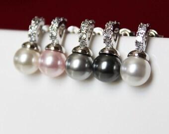 Rhinestone Bridal Earrings. Simple Pearl Stud Earrings.  Bridal Jewelry. Bridesmaids Earrings. Wedding Earrings