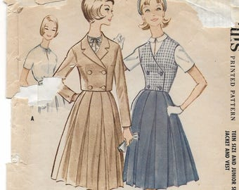 """A Short Sleeve Blouse, Double-Breasted Vest & Cropped Jacket and Full 4-Gore Skirt Pattern for Teens: Retro Size 12 Bust 32"""" • McCall's 5783"""