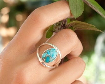 Copper Turquoise Ring * Sterling Silver * Statement * Gemstone * Jewelry * Handmade * Stone * Thin Band * Bycila * BJR036