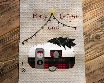 Merry and Bright Christmas Caravan tea towel