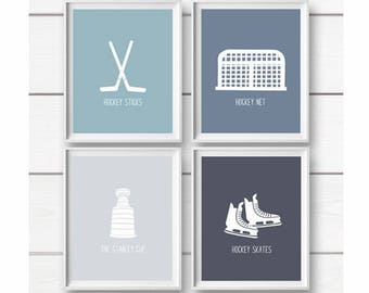 Hockey Art Prints, PRINTABLE Art, Hockey Wall Art Prints, Hockey Decor, Kids Wall Art, Nursery decor, Boys room art, Sports Art Prints