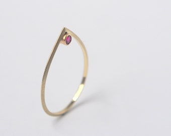 Triangular Gold and Ruby Drop Ring