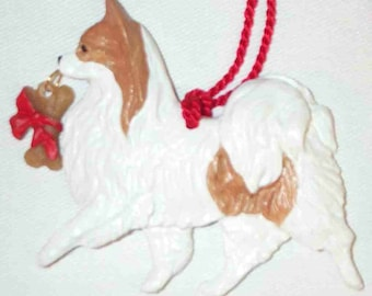 Papillon Dog Christmas Ornament Red and White by Hot Diggity Dog Fabrics Home and Living Home Decor Ornaments and Accents