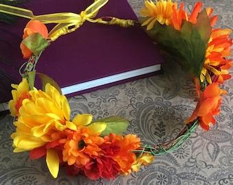 autumn faerie flower crown - flower circlet, elven headpiece, floral halo, festival hair wreath, bohemian bride, autumn wedding