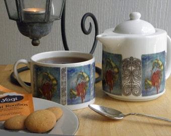 Café Style Porcelain Tea for One Set, Father Yule Fantasy Art