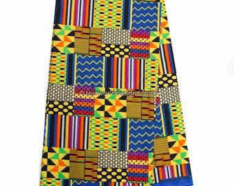 Faux Patchwork kente cloth print, per yard / blue patchwork Kente print/ fuchsia Kente Cloth/ Prom dress fabric/ African Fabric / KF315B