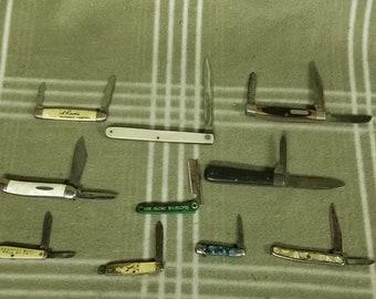 10 Vintage Pocket Knives.  Pocket Knife. Pen Knife. Advertising. Boker. Richards. Sabre.