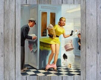 Number Please 1950's Art Frahm vintage pin up art poster print