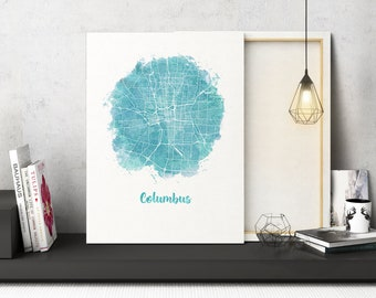 Columbus OH Watercolor Map Columbus Ohio map Columbus Ohio wall art Columbus OH city map Columbus OHart print watercolor circle map canvas