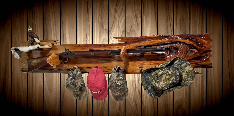 Rustic Live Edge Cherry Gun Rack Wall Mount Arrowhead