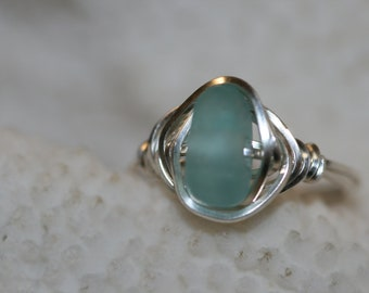 Aqua sea glass beach glass ring wire wrapped in sterling silver