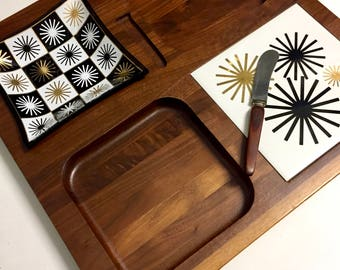 Vintage Mid Century Modern Melcor Snack Tray Serving Platter Solid Wood with Atomic Starburst Design Tile and Glass Bowl