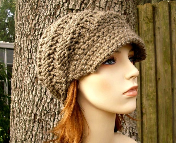 Knit Hat Taupe Womens Hat Taupe Newsboy Hat - Swirl Beanie with Visor in Gemstone Metallic Taupe Knit Hat - Taupe Hat Womens Accessories