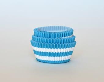 Aqua Striped Cupcake Liners // Aqua Baking Cups (Qty 50)