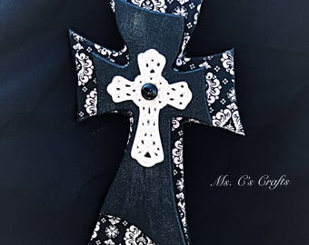 Black and white wall cross