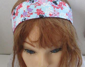 HeadBands For Women, Elastic Head Band, SPRING Fashion, Narrow Hair Accessory, RED and Aqua, Rockabilly, Dread Wrap, Head Wrap, Boho 294