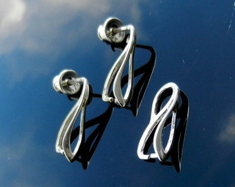 Sterling Silver  Ear Posts with Ear nuts earrings pinch bail for pendants