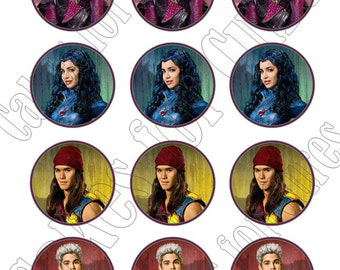 Disney Descendants party decoration edible cupcake images cupcake toppers