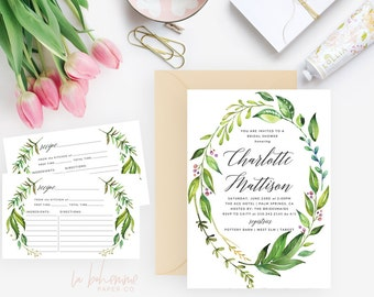 Printable Bridal Shower Invitation /  Shower Invite, Wedding Shower  - Charlotte Wreath