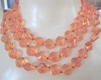 "Long Orange Plastic Beads Necklace  (  50""  )"