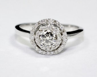 1/2CT Diamond Ring 14K White Gold Band With Round Halo Engagement Ring, Promise Ring  Available: Platinum, 18K, 14K White, Yellow, Rose Gold