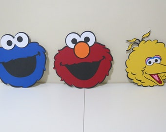 "Sesame Street Inspired - Elmo, Cookie Monster, Big Bird - 11.5"" Character Faces  (3pc Set - Foam Core)"
