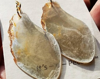 Ultra special matched pair of very unique Golden Mica large earrings collected from the Alstead, NH mica mines