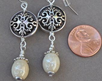 Antique White and Silver Filigree Earrings