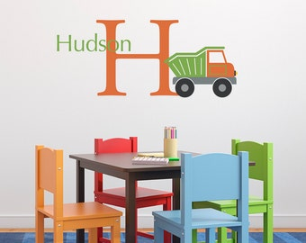 Personalized Dump Truck Wall Decal Set - Initial & Boy Name Wall Decal - Boy Bedroom Wall Sticker - Medium