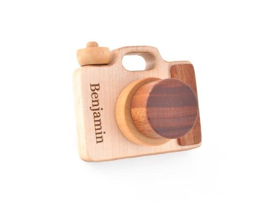 Personalized wooden toy camera eco friendly montessori - Camera montessori ...