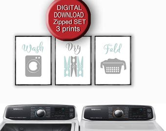Printable Laundry Art Wash Dry Fold Gray Mint White Set of 3 Prints Letter Size A4