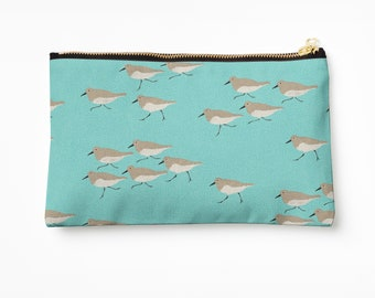 Sandpiper Pouch - choice of size, adorable sand piper birds, pouch with metal zipper, Florida pouch, beach theme gifts, ocean bird gifts