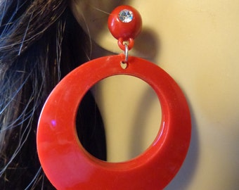 VINTAGE Earrings Open Hoop Earrings Red Pierced earrings Donut Hoop Earrings 2.75 inch