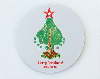 """Holiday Footprints Mousepad,  Using Baby's Actual Footprints, 7.5"""" Round and 7.75"""" x 9"""" Rectangular, Holiday Designs or Other Shop Design"""