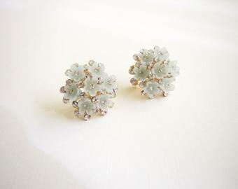 Pastel Blue Flower Stud Earring Blue Stud Earrings in Gold and Blue