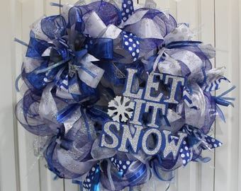 XL Deco Mesh Blue and silver Winter Let it Snow. Holiday wreath. Let it Snow wreath. Snowflake decor.