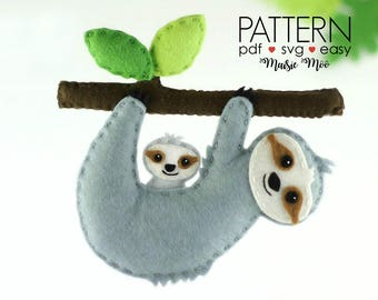 Sloth Sewing Tutorial, Felt Sloth Pattern, Sloth Stuffed Animal Pattern Sloth Plush Sloth SVG Pattern Sloth Ornament DIY Sloth TOY