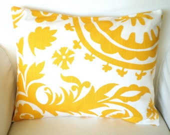 Yellow Lumbar Throw Pillow Cover, Cushion Cover, Corn Yellow and White Suzani, Pillow Case, Yellow Lumbar Pillow, Couch, 12 x 16 or 12 x 18