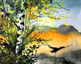 Original Watercolor Landscape Painting by Tetiana, Nature Art