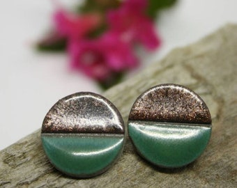 Circle Ceramic Earrings/ Green Stud Earrings/ Geometric earrings/ Circle earrings / Ceramic earrings/ Great mothers day gift