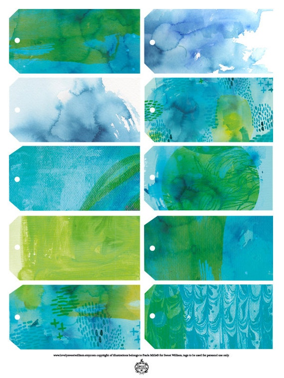 Blue Wash Gift Tags - Digital Download Set of 10 Sweet William illustrative tags, birthday, wedding favour, shower