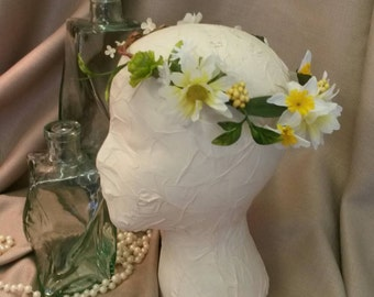 Yellow and White Flower Girl Crown