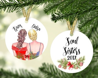 Christmas Ornament for Friends, Best Friend Ornament, Personalized Ornament, BFF Gift, Personalized Friend Ornament, Soul Sisters, Besties