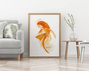 Goldfish Print, Fish Wall Art, Living Room Wall Art, Large Wall Art, Bedroom Wall Art, Kitchen Decor, Living Room Decor, Goldfish Art