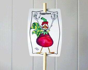 Garden Marker Eggplant Aubergine Vegetable Sign Aluminum UV Protect Bamboo Stake