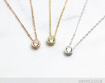 Cz diamond necklace etsy bezel cz necklace n27 delicate cz necklace tiny diamond pendant gold cz solitaire necklace everyday necklace layering necklace aloadofball Images
