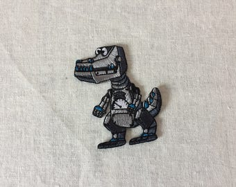 Embroidered Robot Dinosaur Patches - Iron On Patch