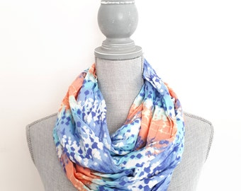 SALE - Women's Scarf, Infinity Scarf, Spring Scarf, Accessory, Blue Scarf, Rayon Scarf, Scarves for Women